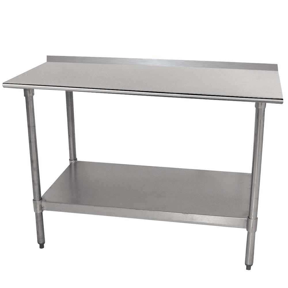 advance tabco ttf 304 x 30 x 48 18 gauge stainless steel work table with backsplash and undershelf - Stainless Steel Work Table With Backsplash