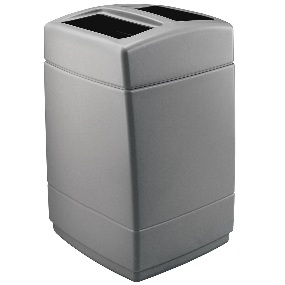 commercial zone 732824 polytec series charcoal 55 gallon square trash can. Black Bedroom Furniture Sets. Home Design Ideas