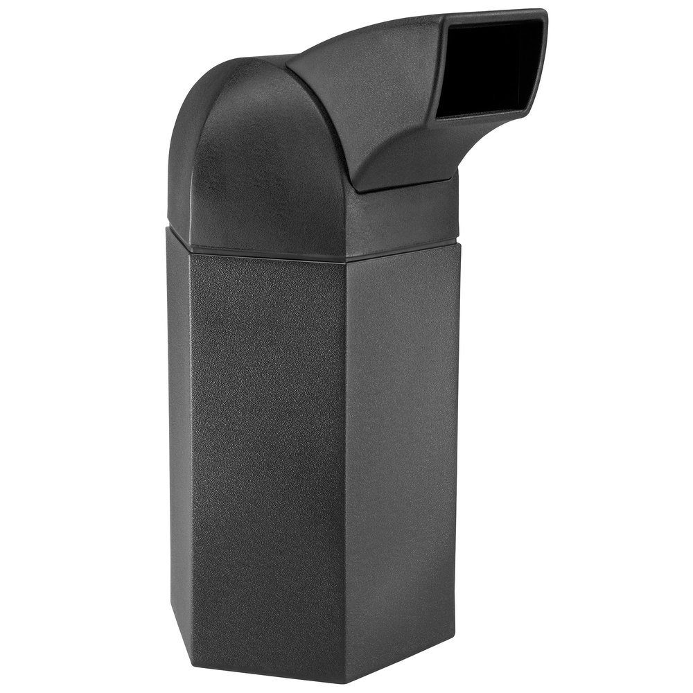 commercial zone polytec series black 50 gallon hexagon trash can with drive thru lid - Commercial Trash Cans