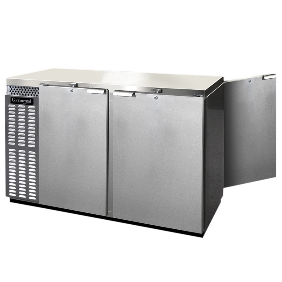 "Continental Refrigerator BBUC50S-SS-PT 50"" Stainless Steel Solid Door Shallow Depth Pass-Through Undercounter Back Bar Refrigerator"