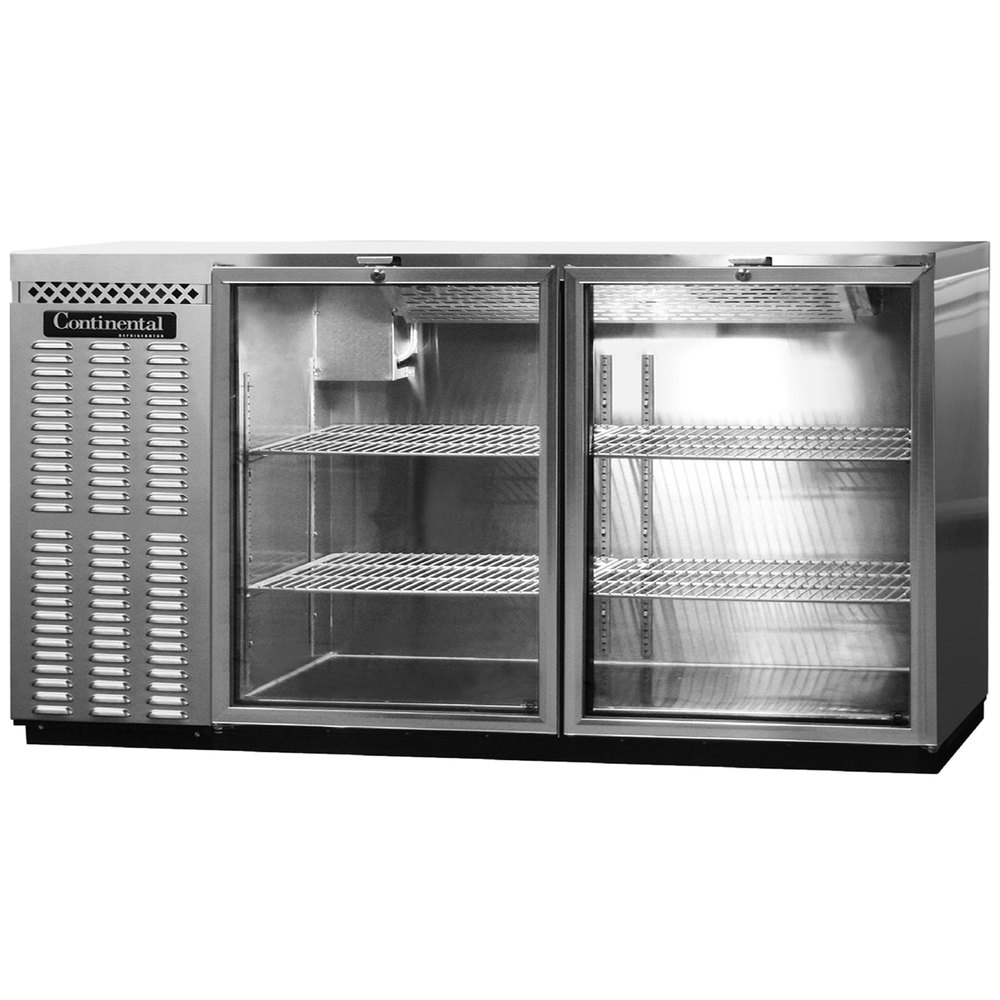 "Continental Refrigerator BBUC69-SS-GD 69"" Stainless Steel Glass Door Undercounter Back Bar Refrigerator"