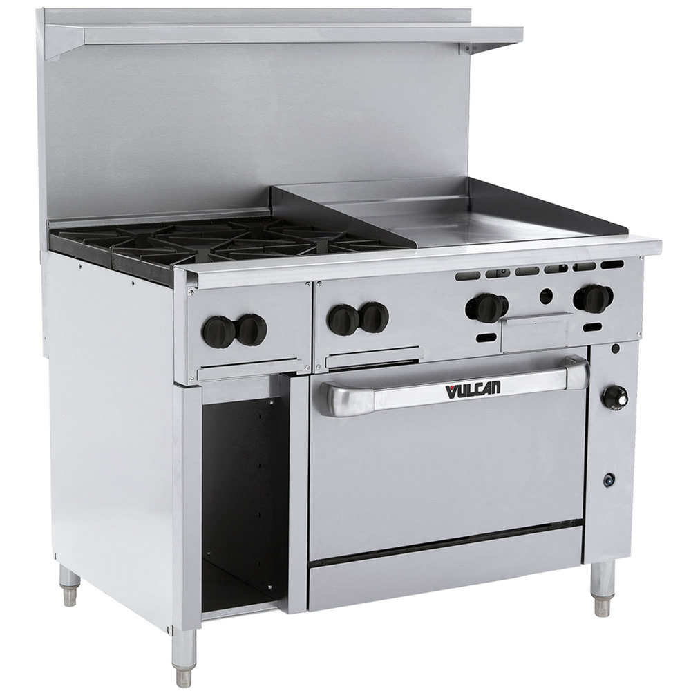 "Vulcan 48C-4B24GTP Endurance Liquid Propane 4 Burner 48"" Range with 24"" Thermostatic Griddle, Convection Oven, and 12"" Cabinet Base - 195,000 BTU"
