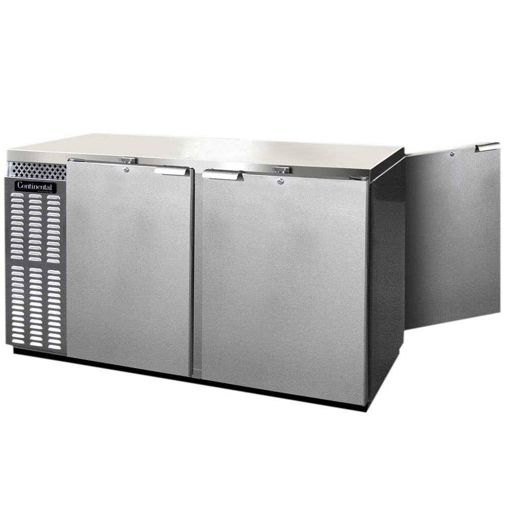 "Continental Refrigerator BBUC69S-SS-PT 69"" Stainless Steel Solid Door Shallow Depth Pass-Through Undercounter Back Bar Refrigerator"