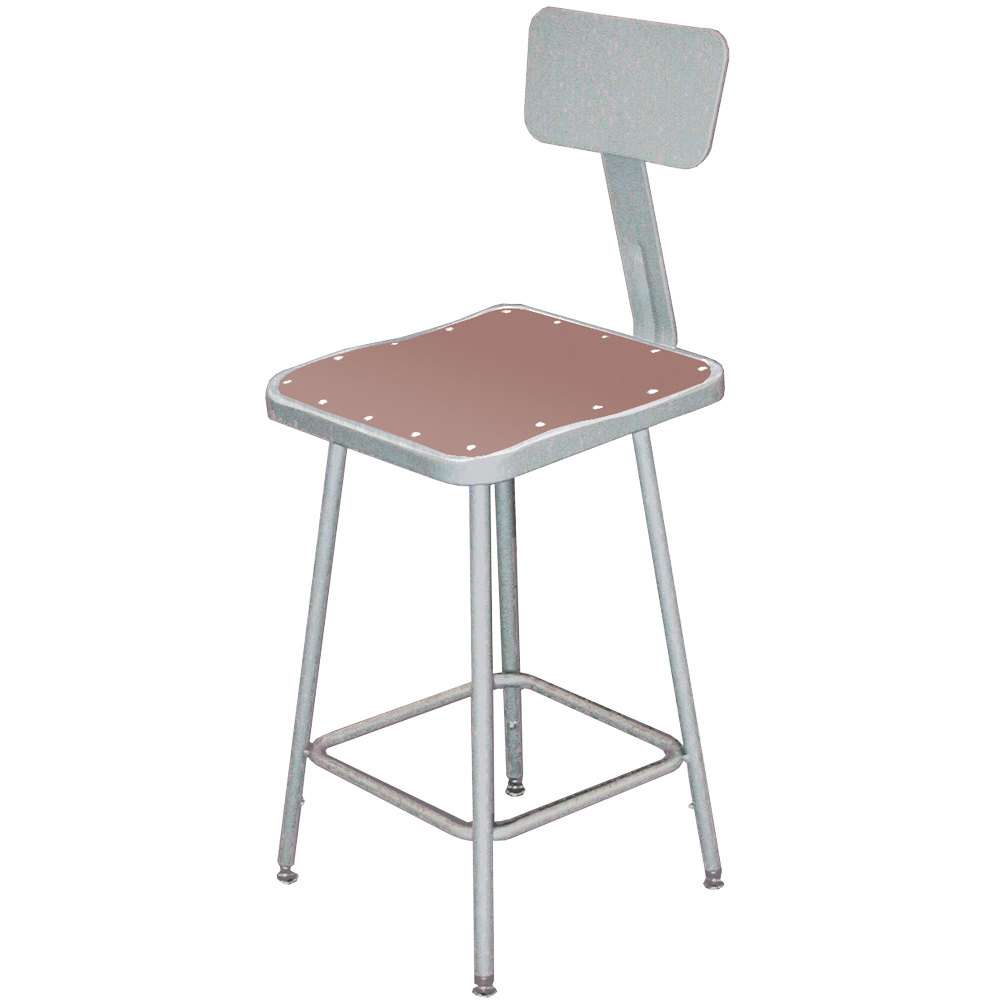 national public seating b  gray hardboard square lab stool  - national public seating b  gray hardboard square lab stool with adjustableback