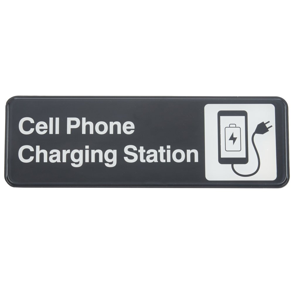 Tablecraft 394565 Cell Phone Charging Station Sign - Black and White, 9u0026quot; x 3u0026quot;
