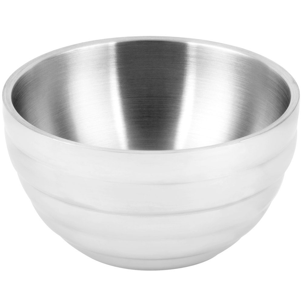 stainless steel double wall pearl white round beehive serving bowl