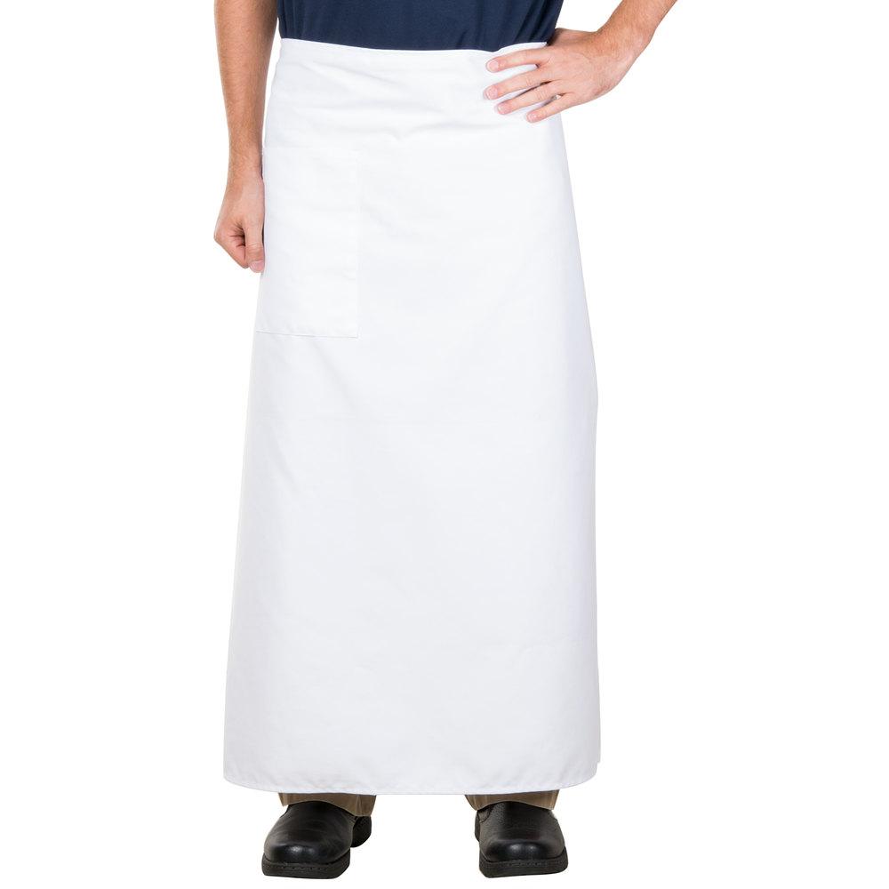 White bistro apron - 38 X 33 1 2 White Two Pocket Poly Cotton Bistro Apron