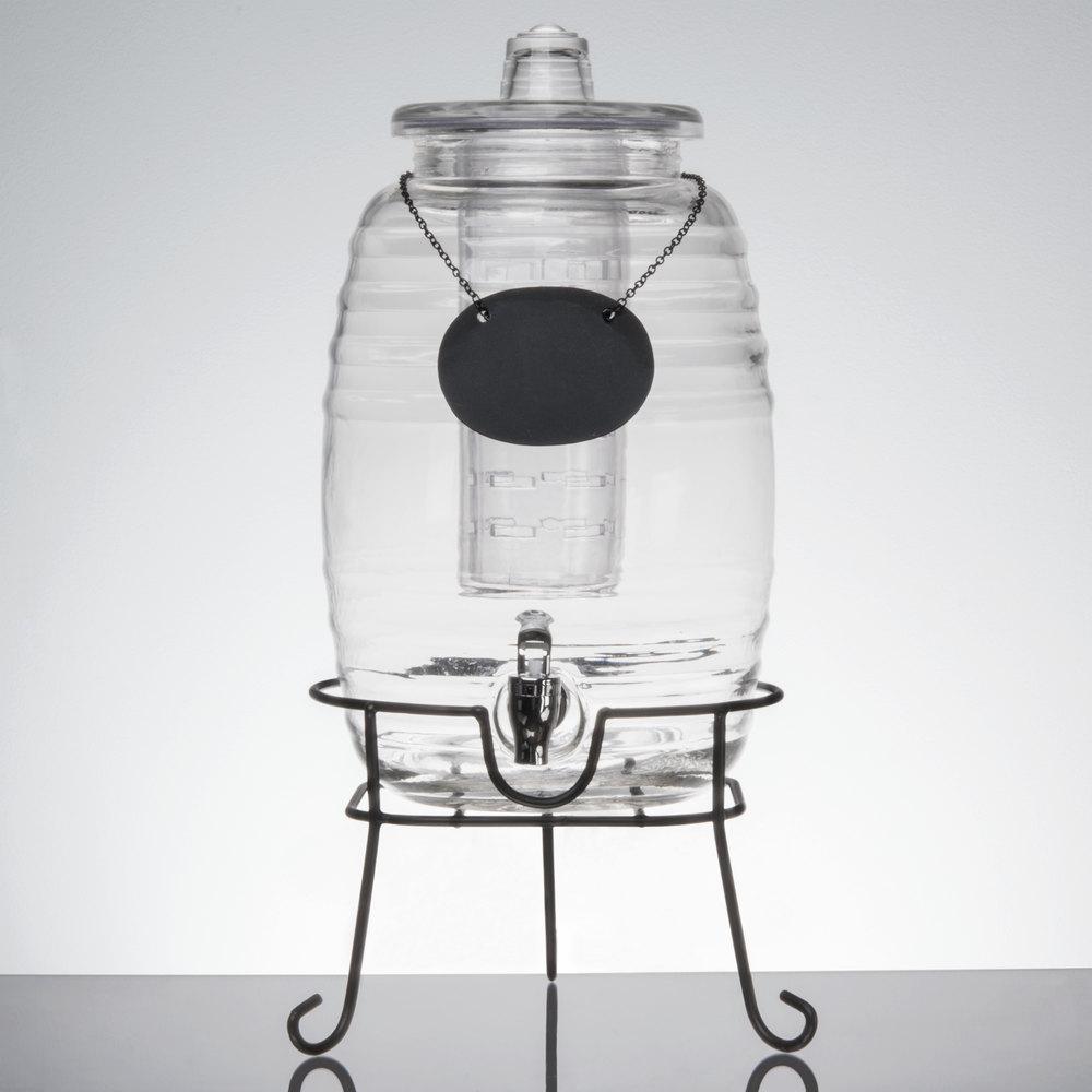core 2 5 gallon barrel glass beverage dispenser with infuser chalkboard sign and black stand. Black Bedroom Furniture Sets. Home Design Ideas