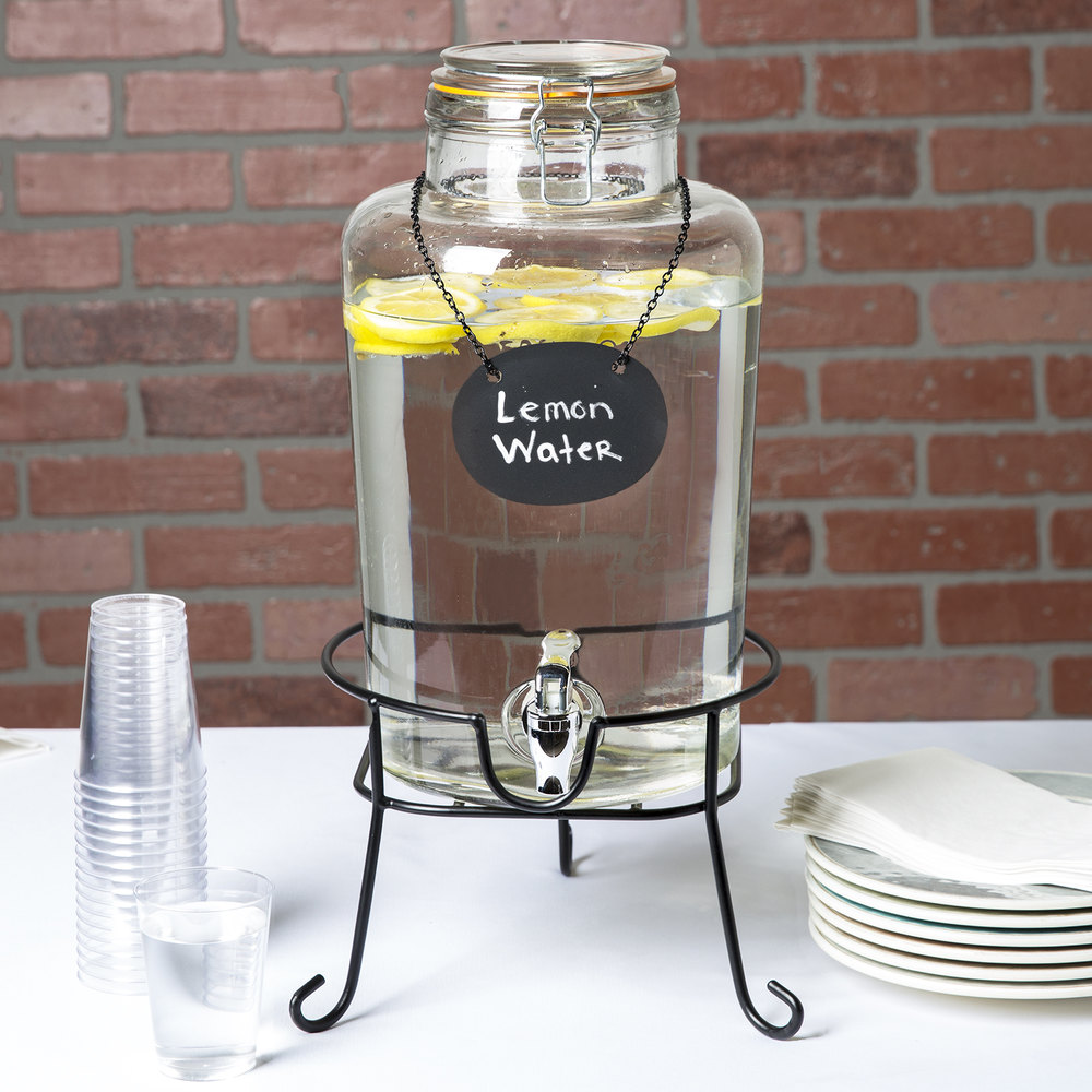 core 2 gallon country glass beverage dispenser with chalkboard sign and black stand. Black Bedroom Furniture Sets. Home Design Ideas