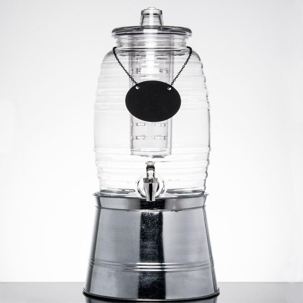 core 2 5 gallon barrel glass beverage dispenser with chalkboard sign and metal stand. Black Bedroom Furniture Sets. Home Design Ideas