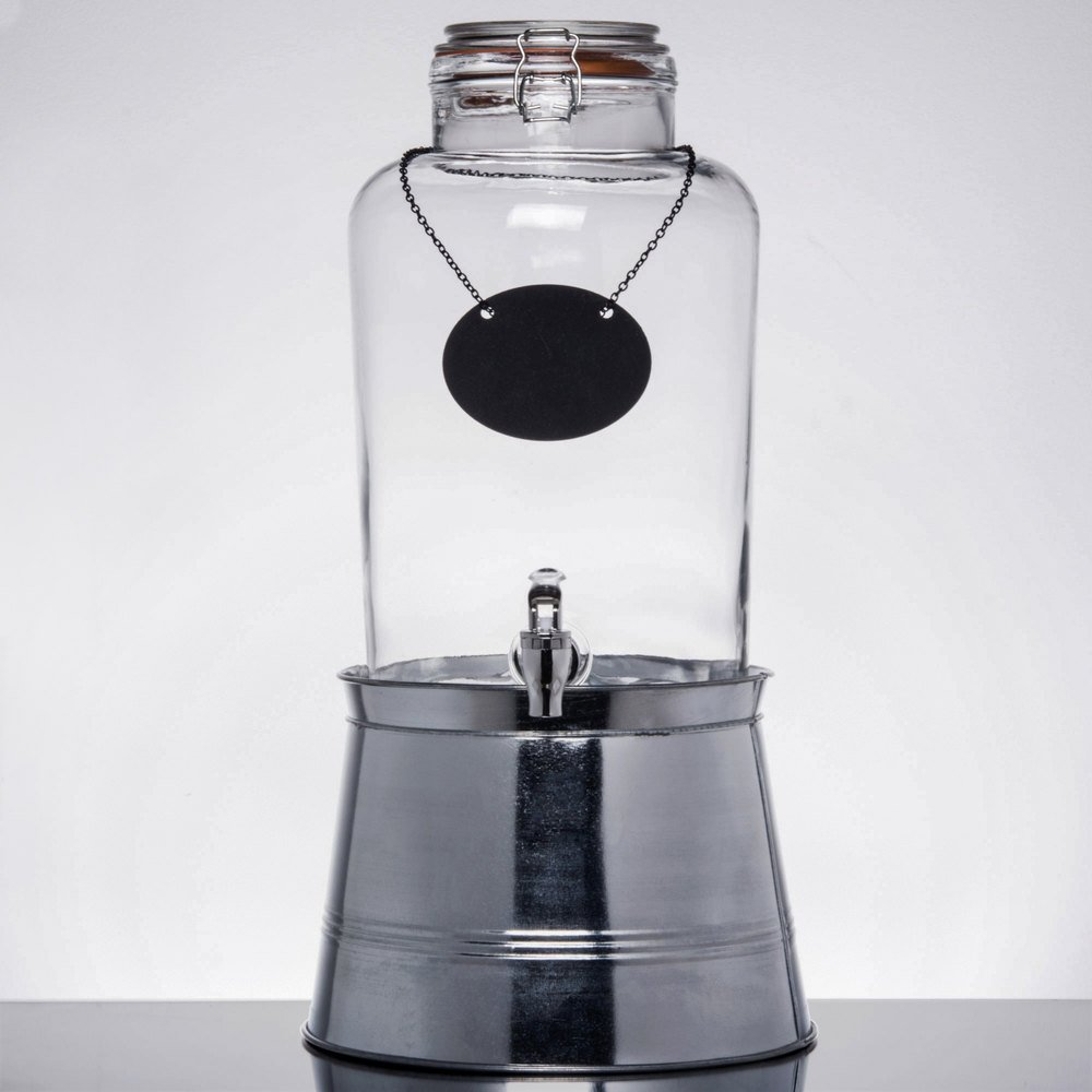 core 2 gallon country glass beverage dispenser with chalkboard sign and metal stand. Black Bedroom Furniture Sets. Home Design Ideas