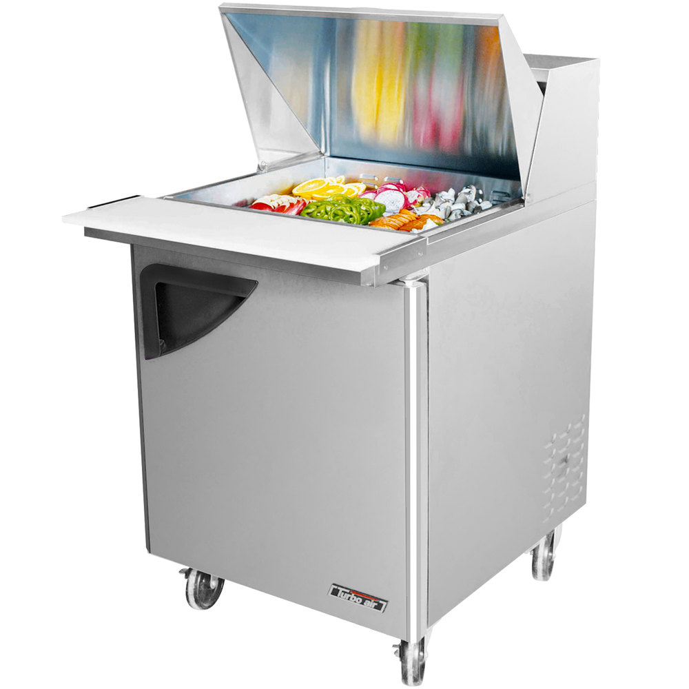 "Turbo Air TST-28SD-12 28"" Super Deluxe SS Single Door Mega Top Refrigerated Salad / Sandwich Prep Table with Deluxe Shelving"