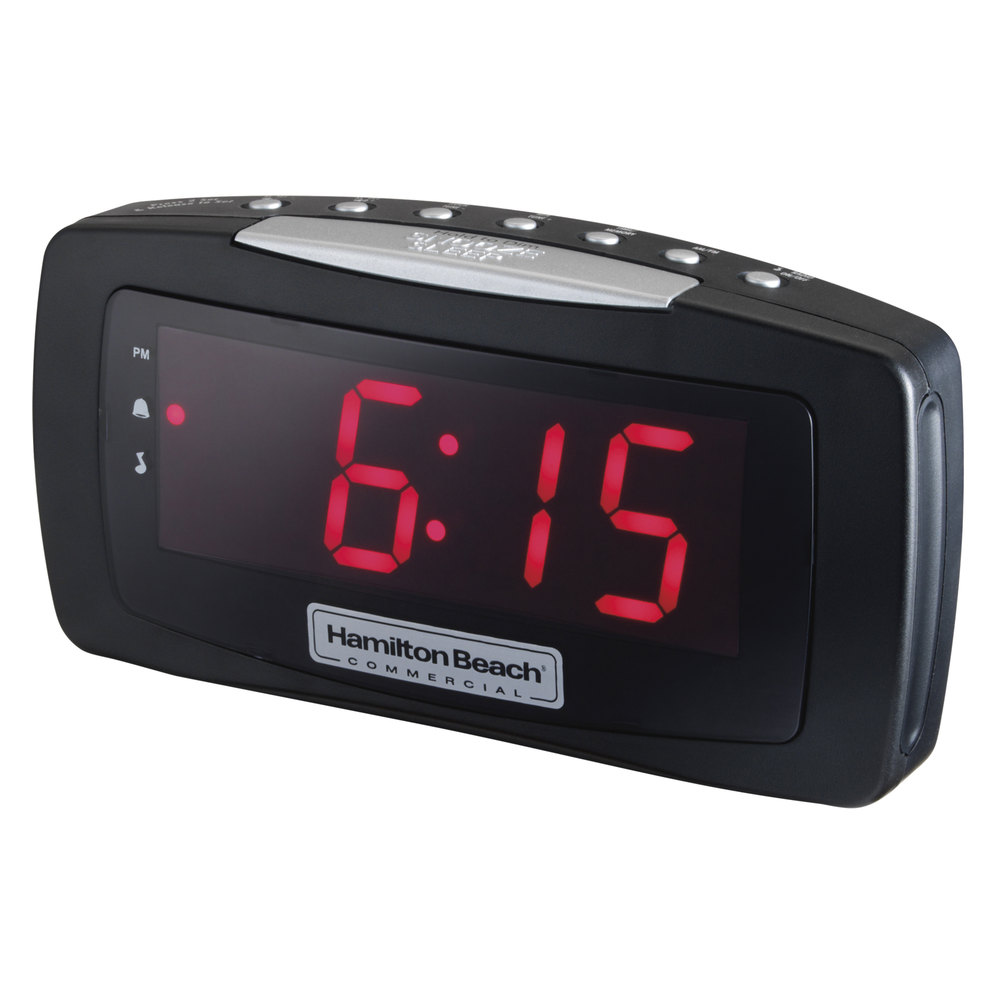 hamilton beach hcr330 am fm black alarm clock radio 120v. Black Bedroom Furniture Sets. Home Design Ideas