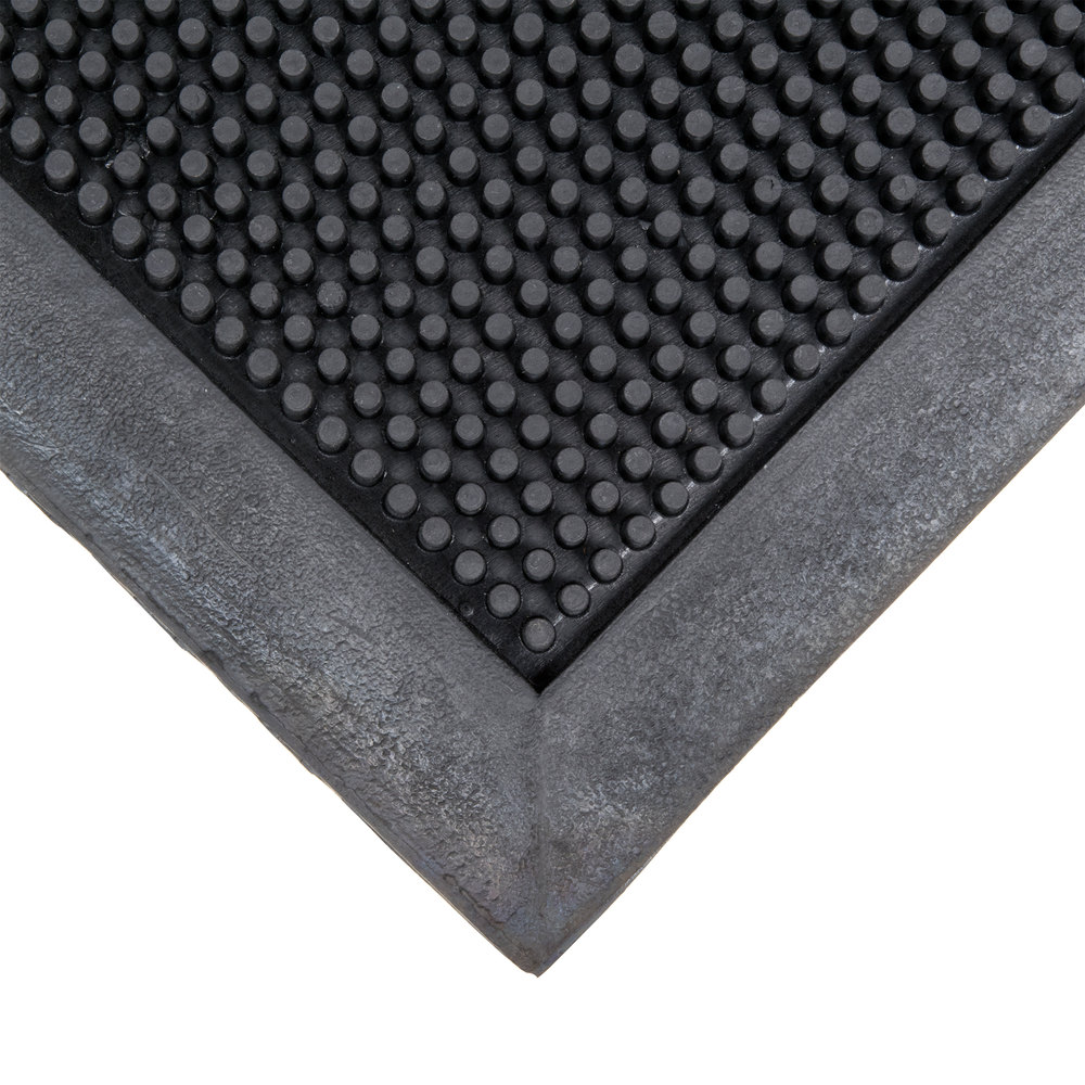 "Cactus Mat 35-2432 Finger Top 24"" x 32"" Black Anti-Fatigue Rubber Entrance Mat - 5/8"" Thick"