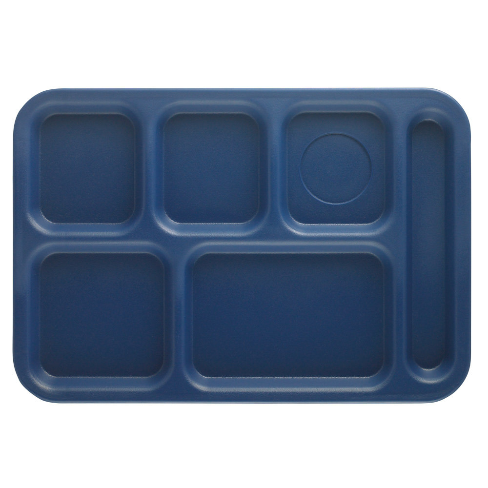 "Cambro PS1014186 Penny-Saver 10"" x 14 1/2"" Navy Blue 6 Compartment Serving Tray - 24/Case"
