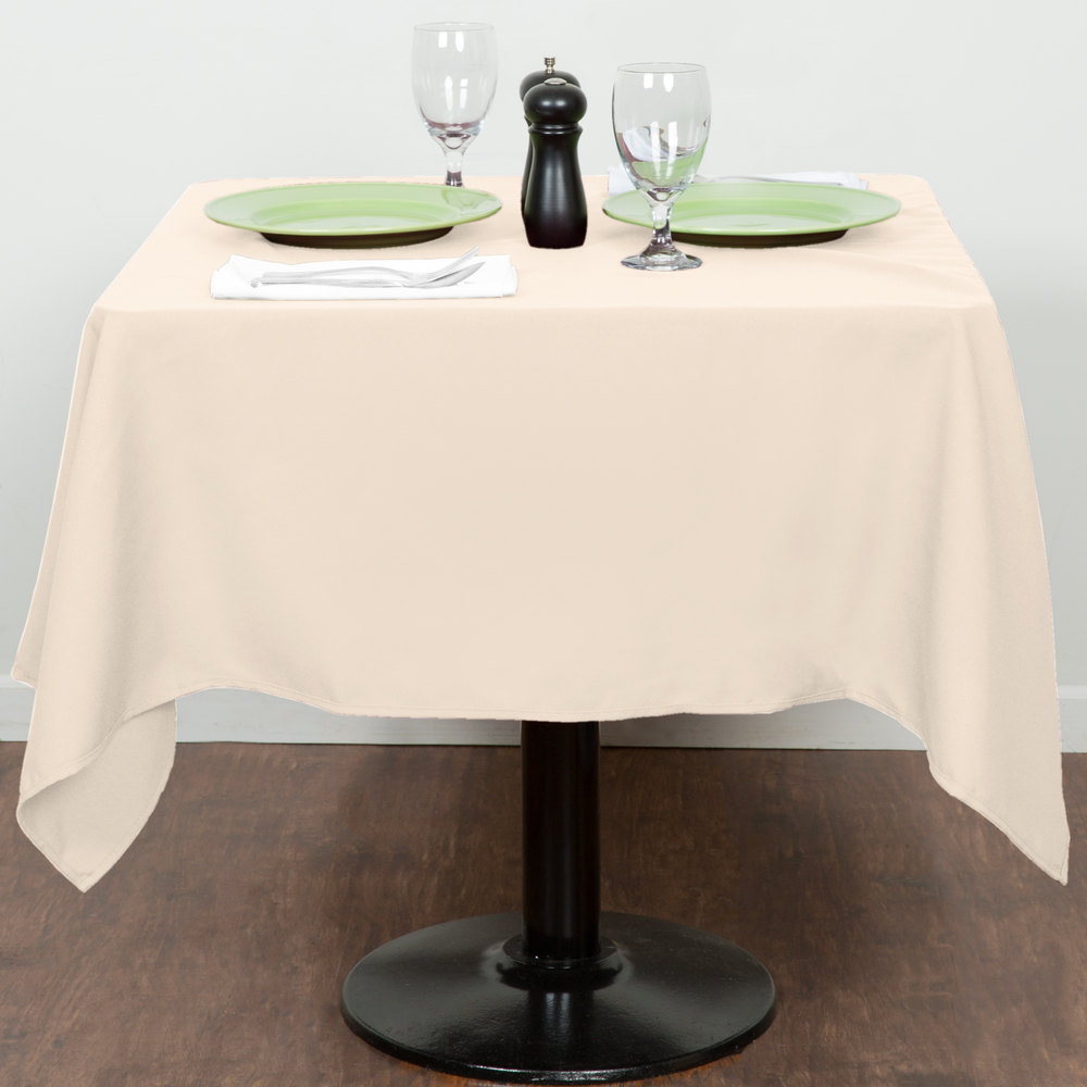 "54"" x 54"" Ivory 100% Polyester Hemmed Cloth Table Cover"