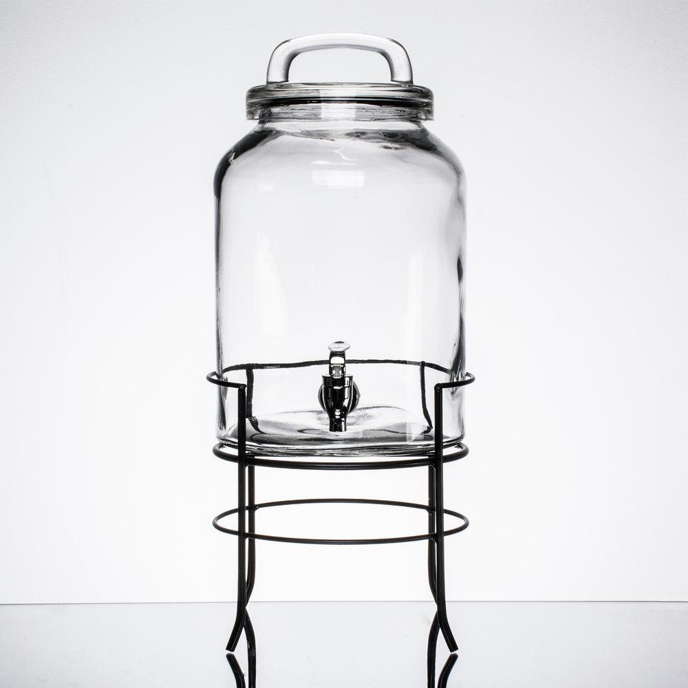 1 5 gallon style setter savannah glass beverage dispenser with metal stand. Black Bedroom Furniture Sets. Home Design Ideas
