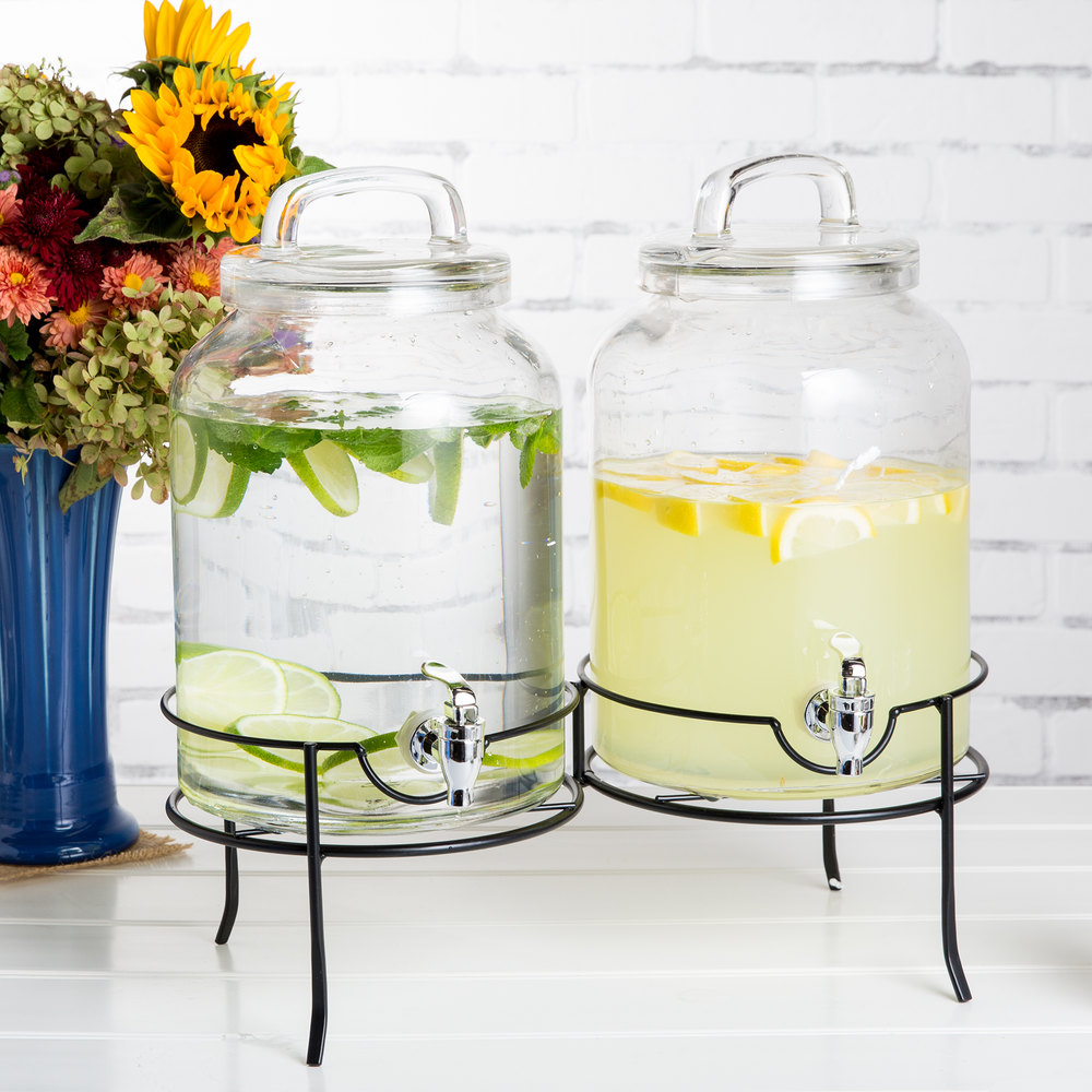 double 1 5 gallon style setter savannah glass beverage dispenser with metal stand. Black Bedroom Furniture Sets. Home Design Ideas