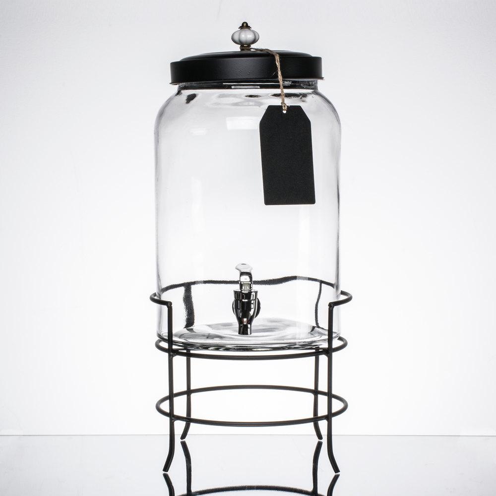 3 gallon style setter franklin glass beverage dispenser with metal stand. Black Bedroom Furniture Sets. Home Design Ideas
