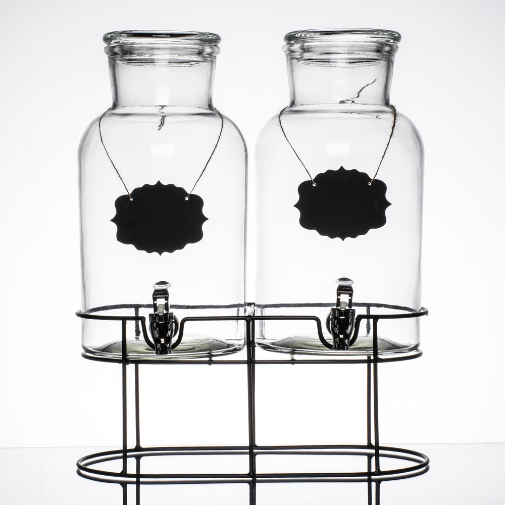 double 1 2 gallon style setter sierra glass beverage dispenser with metal stand. Black Bedroom Furniture Sets. Home Design Ideas