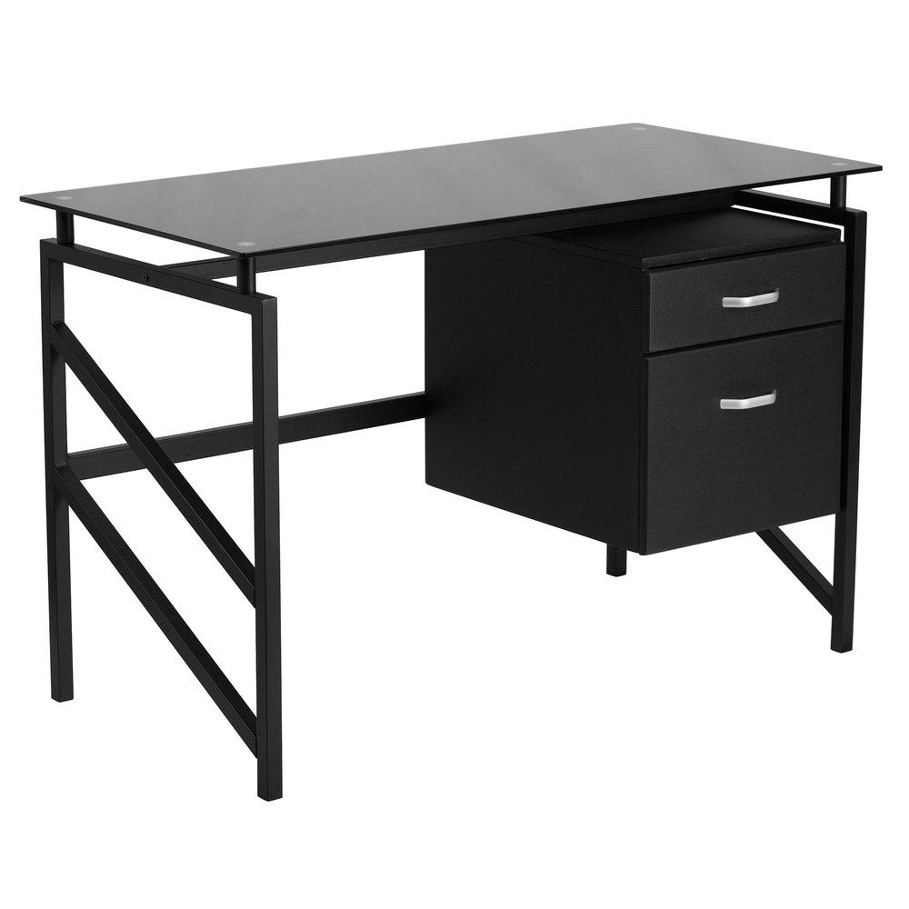 Flash Furniture Nan Wk 036 Gg Black Glass Desk With 2 Drawer