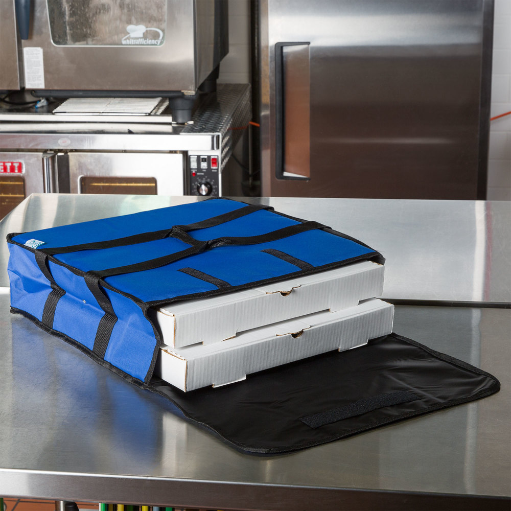 "Choice 18"" x 18"" x 5"" Blue Soft-Sided Nylon Insulated Pizza Delivery Bag - Holds Up To (2) 16"" Pizza Boxes or (1) 18"" Pizza Box"