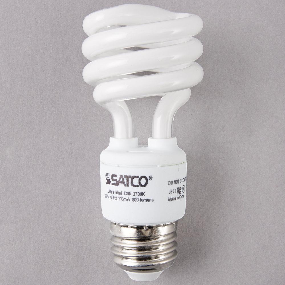 satco s7217 13 watt 60 watt equivalent warm white mini spiral compact fluorescent light - Compact Fluorescent Light Bulbs