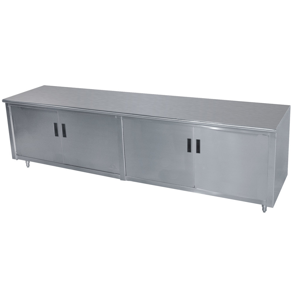 "Advance Tabco HB-SS-306M 30"" x 72"" 14 Gauge Enclosed Base Stainless Steel Work Table with Hinged Doors and Fixed Midshelf"