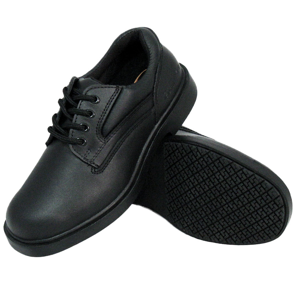 Women S Size 11 Wide Width Black Leather Comfort Oxford Non Slip Shoe Main Picture