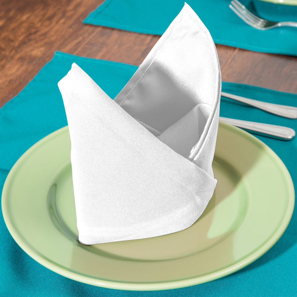 "18"" x 18"" White 100% Polyester Hemmed Cloth Napkin - 12/Pack"