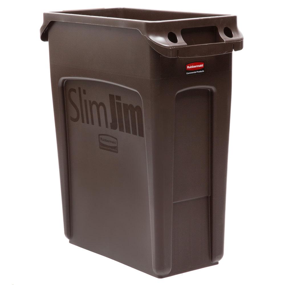 rubbermaid 1956181 slim jim 64 qt 16 gallon brown trash can. Black Bedroom Furniture Sets. Home Design Ideas