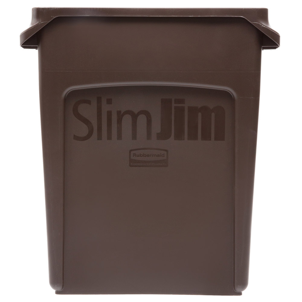 rubbermaid 1956181 slim jim 16 gallon brown trash can. Black Bedroom Furniture Sets. Home Design Ideas