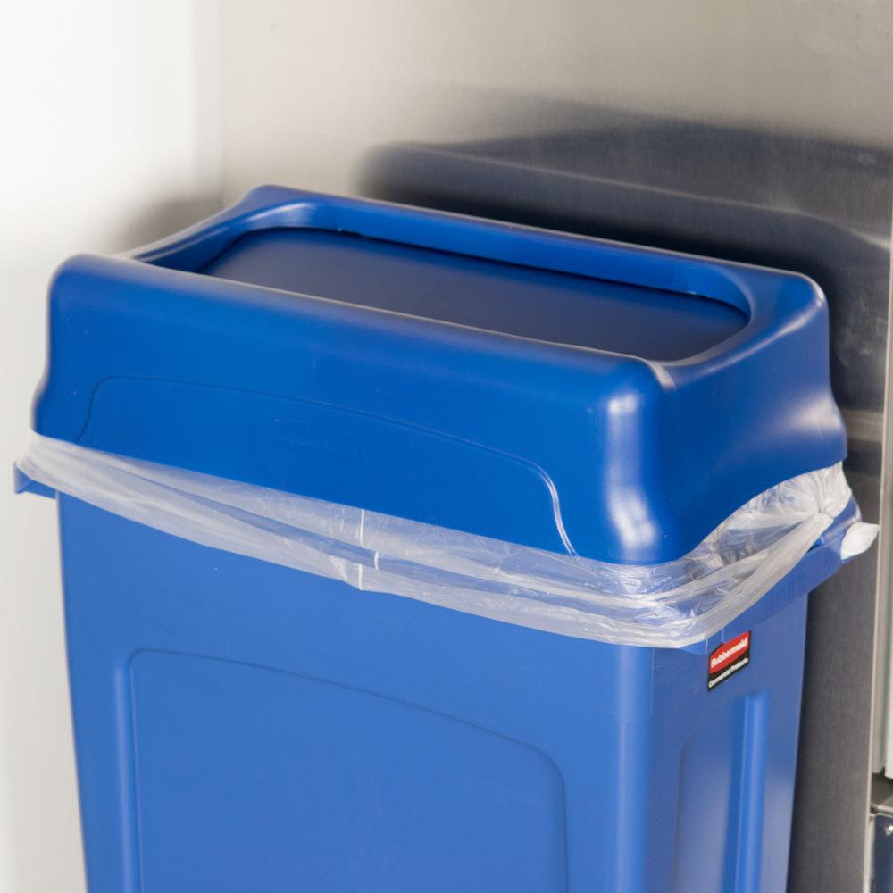 rubbermaid fg267360blue slim jim blue swing wall hugger trash can lid. Black Bedroom Furniture Sets. Home Design Ideas