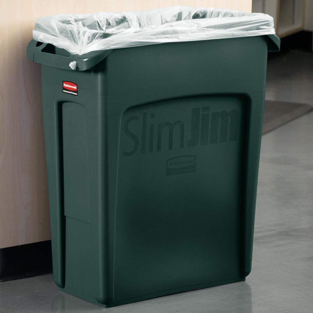 rubbermaid 1955960 slim jim 16 gallon green wall hugger trash can. Black Bedroom Furniture Sets. Home Design Ideas