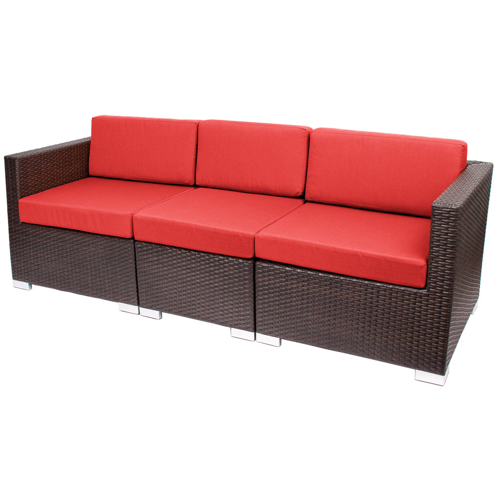 Bfm seating ph5101jv 5477 aruba java wicker outdoor for Outdoor sofa