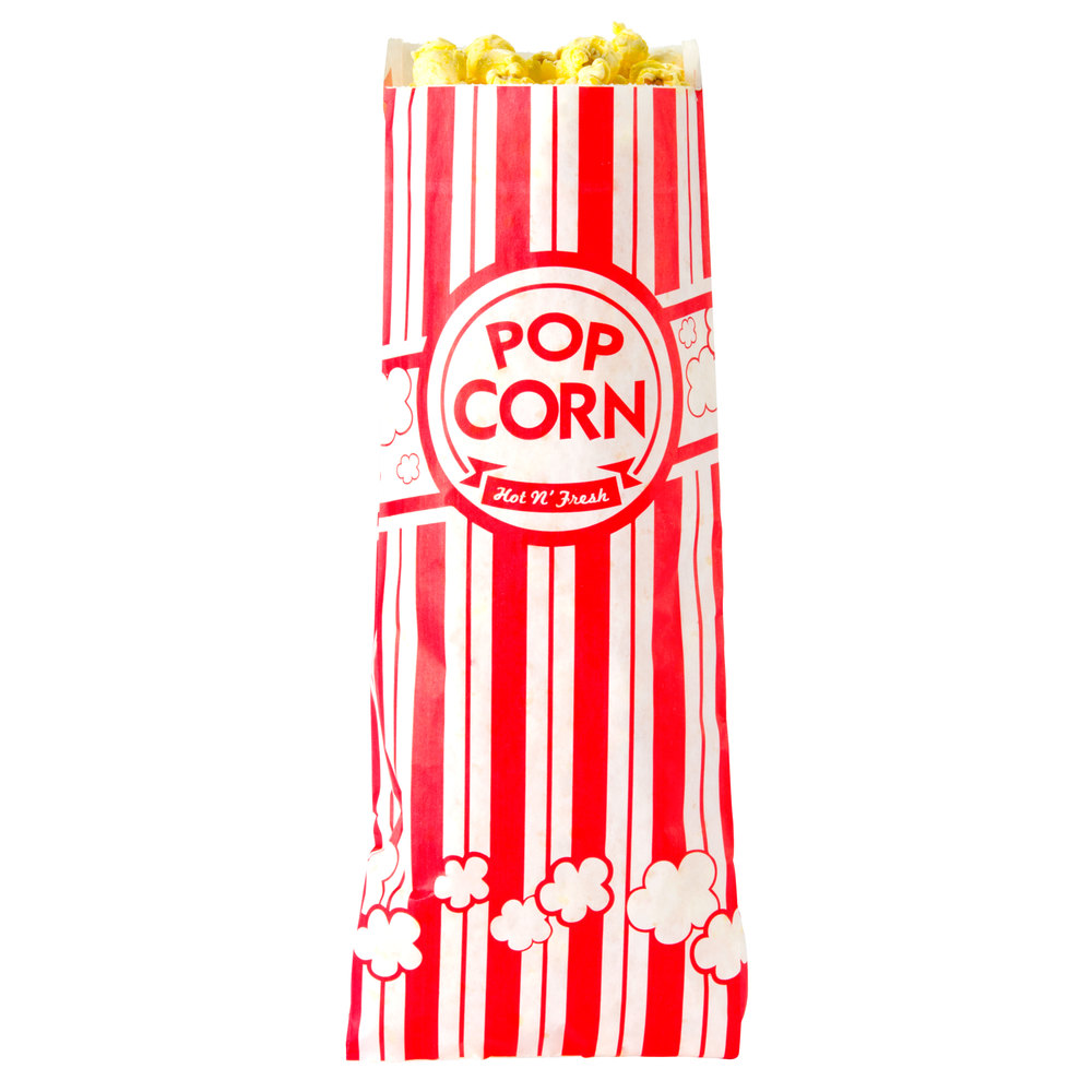 "Carnival King 3"" x 1 1/2"" x 7"" .6 oz. Popcorn Bag - 1000/Case"