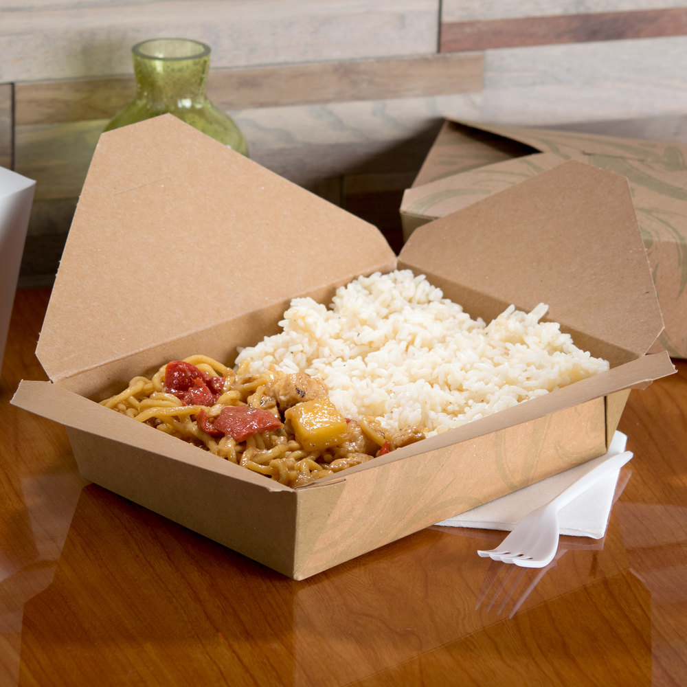 "Bio-Plus-Earth 03BPSONOMM 8"" x 6"" x 2 1/2"" Sonoma Microwavable Paper #3 Take-Out Container - 200/Case"