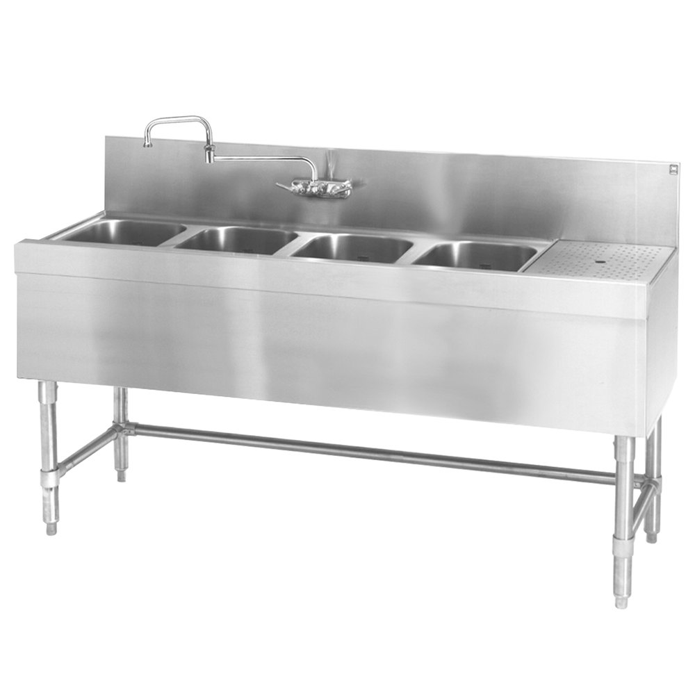 "Eagle Group B6R-4-19 Spec-Bar 72"" x 19"" 20 Gauge Four Bowl Stainless Steel Underbar Sink with 24"" Right Drainboard"
