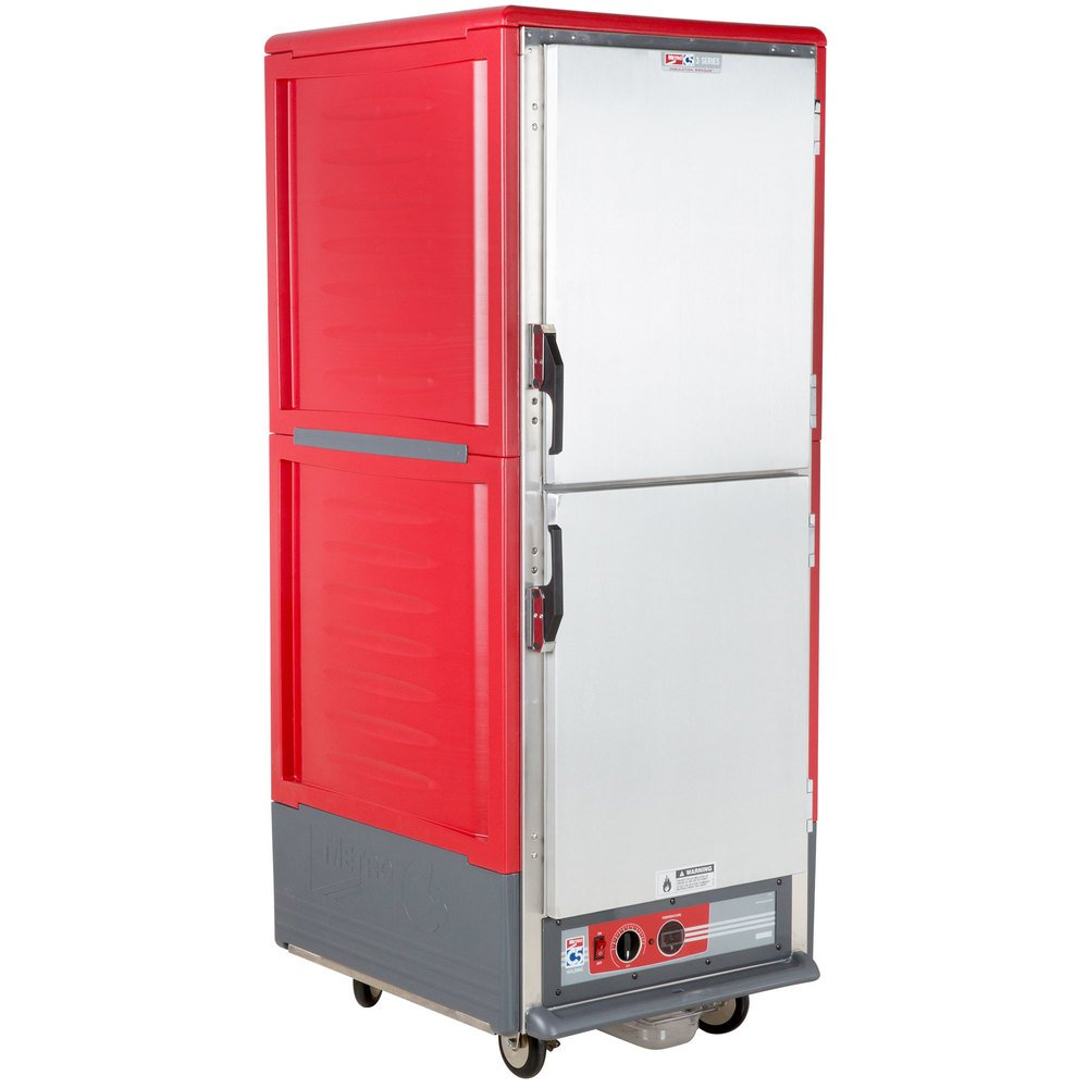 metro c539hdsu c5 3 series heated holding cabinet with solid dutch doors red