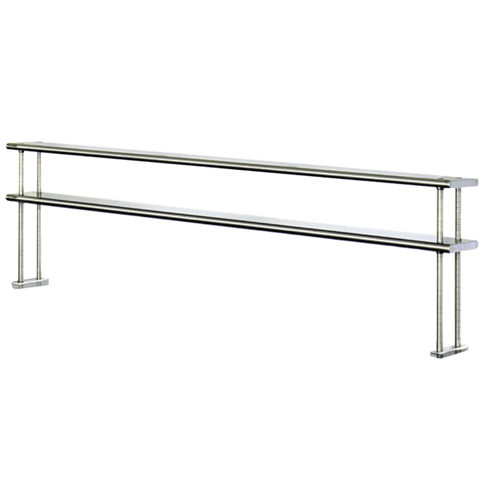 "Eagle Group DOS1084-16/4 Table Mount Type 430, 16 Gauge Stainless Steel Double Overshelf - 84"" x 10"" x 30"""