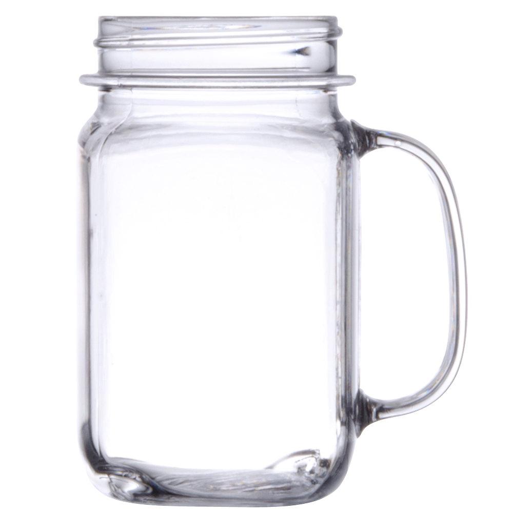 Get Mas 3 Cl 16 Oz Clear Plastic Mason Drinking Jar With