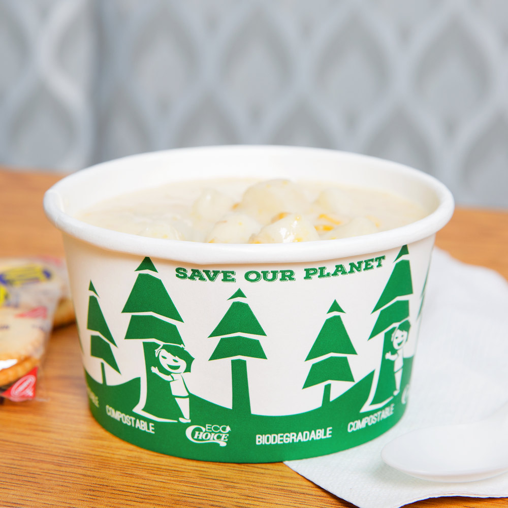 EcoChoice 12 oz. Compostable and Biodegradable Paper Soup / Hot Food Cup with Tree Design - 25/Pack