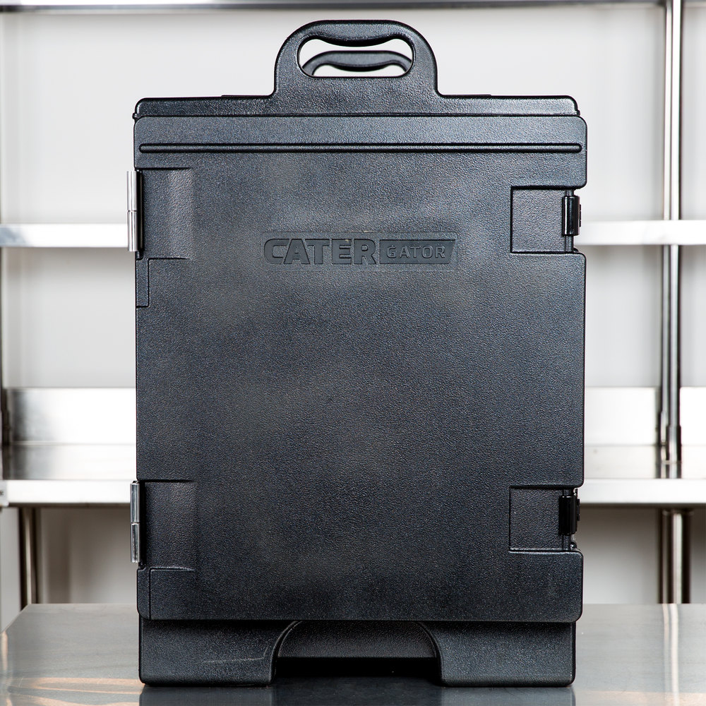 "CaterGator 16 3/4"" x 24"" x 25"" Black Front Loading Insulated Food Pan Carrier"
