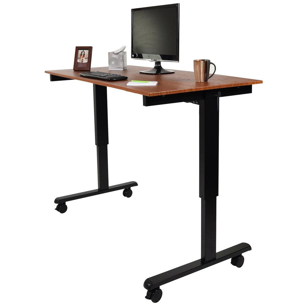 luxor standcf60 bk tk stand up desk with black steel frame and teak desktop 60. Black Bedroom Furniture Sets. Home Design Ideas