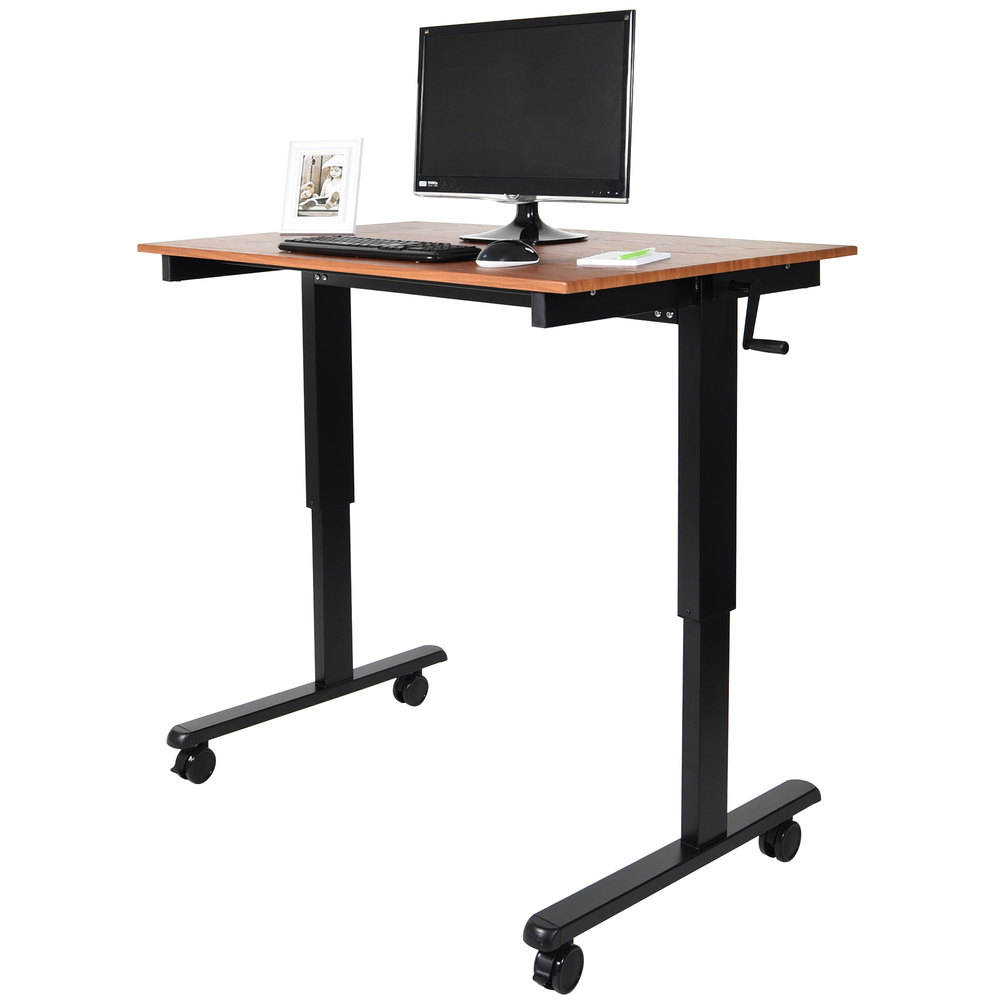 luxor standcf48 bktk stand up desk with black steel frame and teak desktop 48