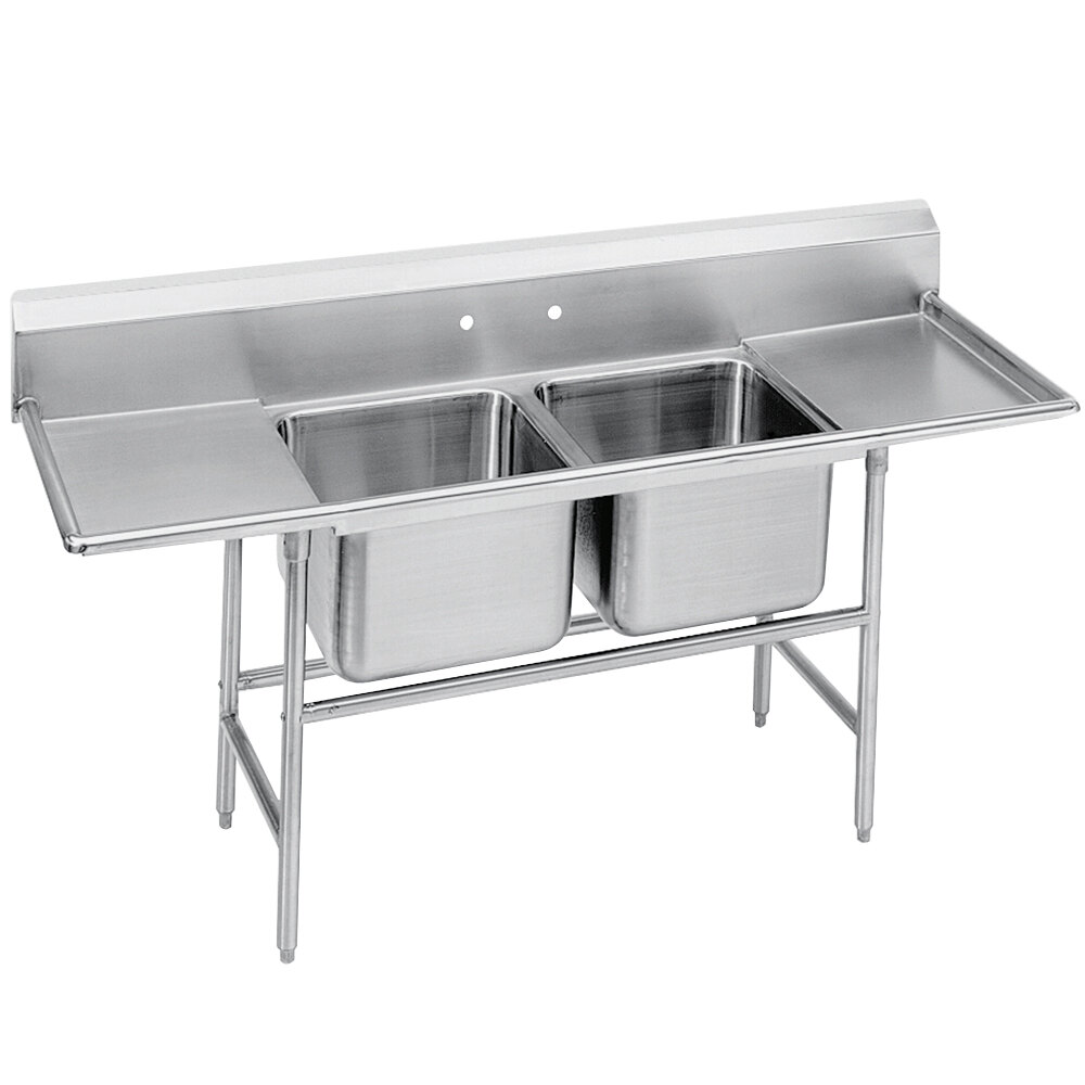 Advance Tabco 94-62-36-18RL Spec Line Two Compartment Pot Sink with Two Drainboards - 77""