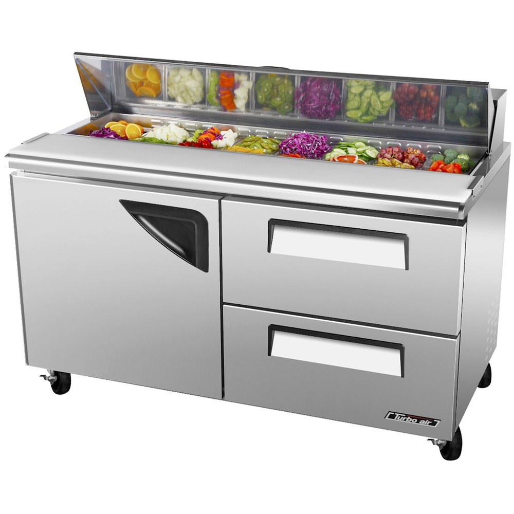 "Turbo Air TST-60SD-D2 60"" Super Deluxe Refrigerated Salad / Sandwich Prep Table with One Door and Two Drawers"