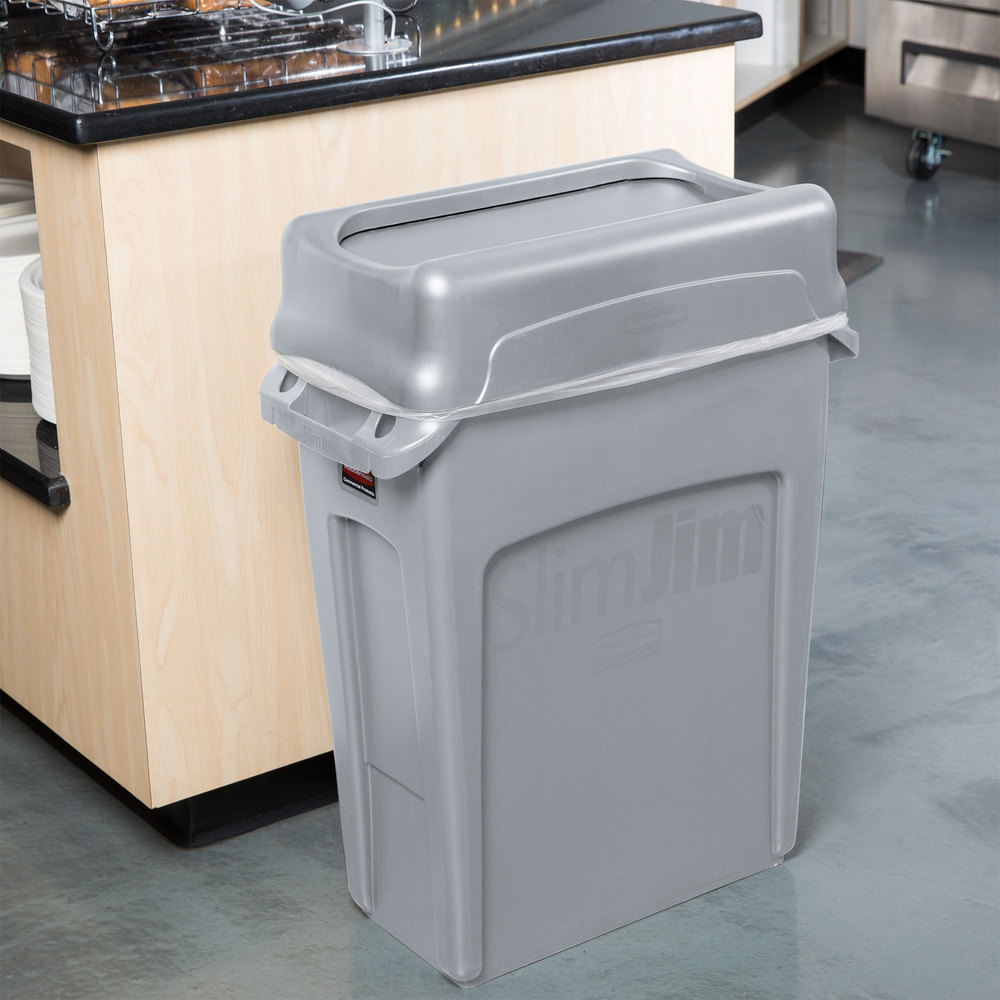 Rubbermaid slim jim 16 gallon gray wall hugger trash can with gray swing lid - Slim garbage cans for kitchen ...