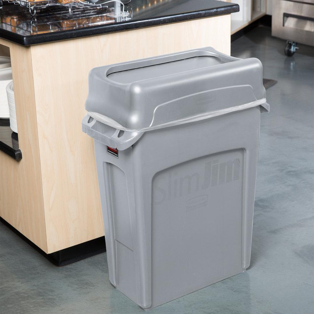 Rubbermaid Slim Jim 16 Gallon Gray Trash Can With Gray