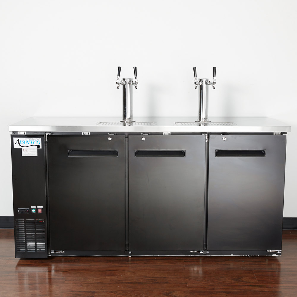 avantco udd72hc kegerator beer dispenser with 2 double tap towers 3 12 keg capacity